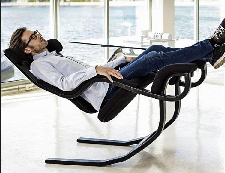 relaxing in zero gravity chair